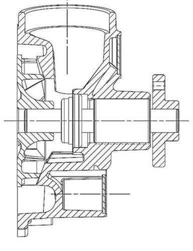 Anbaupumpe mit integriertem Zulauf und Spiralkanal sowie Leckwasser- bzw. Verdampfungsbehälter, Fa. NGPM Merbelsrod