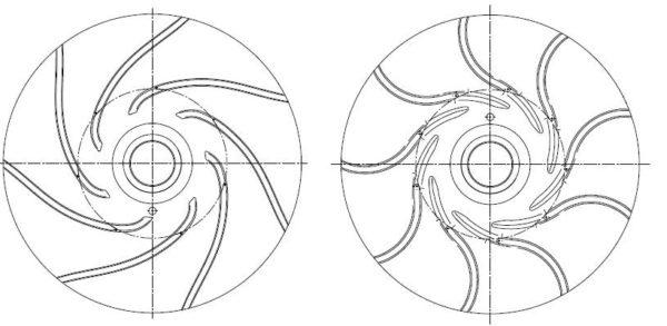 Radiales Schaufelrad mit rückwärts (links) und vorwärts (rechts) gekrümmten Schaufeln, Fa. NGPM Merbelsrod