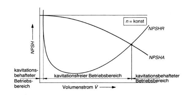 Bereiche mit kavitationsfreiem und kavitationsbehaftetem Betrieb, Bohl/Elmendorf: Strömungsmaschinen I und II, Vogel Buchverlag Würzburg